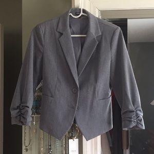 Express gray Blazer with ruffled sleeves